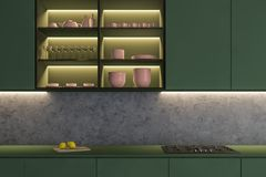 Zamyka w g?r? zielonego kuchennego countertop ilustracji