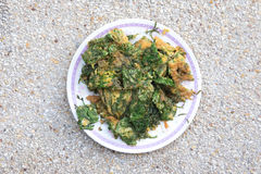 Zamyka w górę akacjowego omelette (OM khai) Zdjęcie Stock
