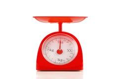 Zamyka w górę czerwonej plastikowej kilo skala Fotografia Stock
