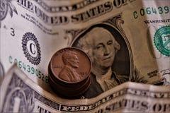 Zamyka w górę 1 dolara banknotów fotografia royalty free
