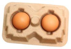 Zamyka W górę Dwa Brown kurczaka jajek Obrazy Royalty Free