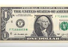 zamyka w górę jeden dolarowego rachunku Zdjęcia Stock