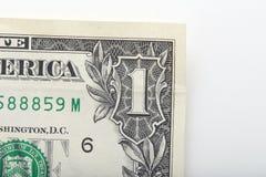 zamyka w górę jeden dolarowego rachunku Fotografia Stock