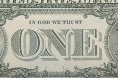 zamyka w górę jeden dolarowego rachunku Obraz Stock