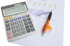 Zamyka w górę kalkulatora z papierem Obrazy Stock