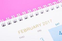 Zamyka w górę Luty 2017 kalendarzowej strony Zdjęcie Stock