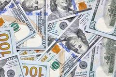 Zamyka w górę obrazka sto dolarowi rachunki Obrazy Stock
