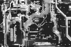 Zamyka w górę odgórnego widoku obwód deski wzoru strona elektron z powrotem Obraz Royalty Free