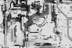 Zamyka w górę odgórnego widoku obwód deski wzoru strona elektron z powrotem Obrazy Royalty Free