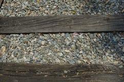 Zamyka w górę torów szynowych i kamieni Obraz Royalty Free