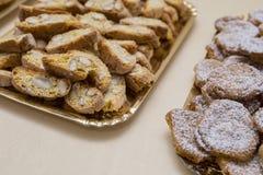 Zamyka w górę typowego genoese ciastka canestrelli, cantucci i Obraz Stock