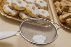 Zamyka w górę typowego genoese ciastka canestrelli, cantucci i Obrazy Stock