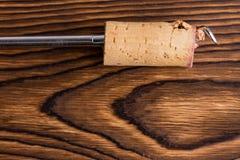 Zamyka w górę widoku corkscrew z wino korkiem Zdjęcia Stock