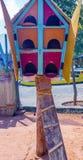 Zamyka w górę widoku drewniany ptaka gniazdeczko, ECR, Chennai, Tamilnadu, India, Jan 29 2017 zdjęcia stock