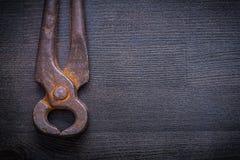 Zamyka w górę widoku rocznika nippers na drewno desce Obraz Stock