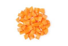 Zanahoria cortada en cuadritos Imagen de archivo