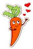 Zanahoria de la historieta en amor stock de ilustración