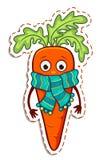 Zanahoria de la historieta en la bufanda ilustración del vector