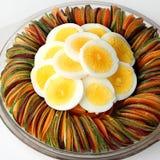 Zanahoria de las remolachas del pepino de la ensalada del huevo cortada Fotografía de archivo