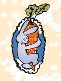Zanahoria loca del abrazo del conejito Fotografía de archivo libre de regalías