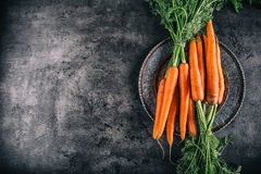 Zanahoria Manojo fresco de las zanahorias Zanahorias de bebé aisladas Zanahorias anaranjadas orgánicas frescas crudas Comida sana Imágenes de archivo libres de regalías