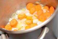Zanahoria y cebolla con petróleo Imágenes de archivo libres de regalías