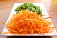 Zanahoria y habas ralladas Imagen de archivo libre de regalías