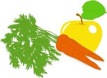 Zanahoria y manzana amarilla, ejemplos Foto de archivo
