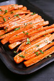 Zanahorias asadas, visión superior Foto de archivo libre de regalías