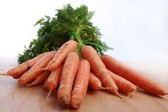 Zanahorias con los tops verdes, manojo de once Fotografía de archivo