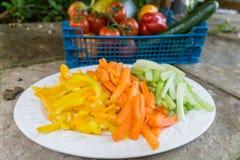 Zanahorias cortadas apio y pimientas en una placa Imagen de archivo libre de regalías