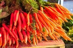 Zanahorias crudas del jardín imagenes de archivo