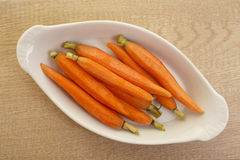Zanahorias de bebé gastrónomas Foto de archivo libre de regalías