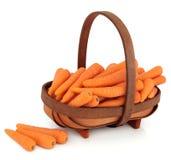 Zanahorias en una cesta Fotos de archivo