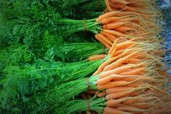 Zanahorias enteras con los tops Fotos de archivo libres de regalías