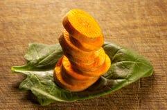Zanahorias, espinaca y arroz Imagen de archivo libre de regalías