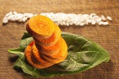 Zanahorias, espinaca y arroz Fotografía de archivo libre de regalías