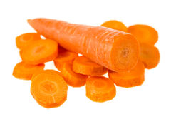 Zanahorias frescas aisladas en el fondo blanco Fotos de archivo libres de regalías