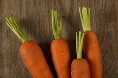 Zanahorias frescas altas en suelo arenoso Fotos de archivo libres de regalías