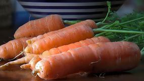 Zanahorias frescas con las hojas Primer Imagen de archivo libre de regalías