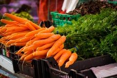 Zanahorias frescas en el mercado Imágenes de archivo libres de regalías