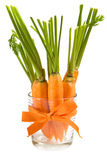 Zanahorias frescas en el vidrio Fotos de archivo