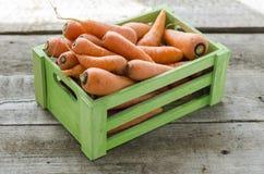 Zanahorias jovenes en una caja de madera Imagen de archivo libre de regalías