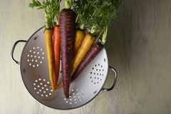 Zanahorias orgánicas en colador Imagen de archivo libre de regalías
