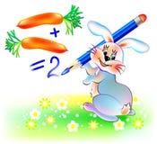 Zanahorias que hacen juegos malabares del conejo, imagen de la historieta del vector El ejemplo del conejo que aprende cuenta num libre illustration