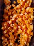 Zanahorias tajadas y cortadas en cuadritos Imagen de archivo