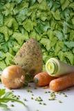 Zanahorias, unión, puerro, perejil, guisantes partidos en la tabla blanca, backgrund verde de las hojas fotos de archivo libres de regalías