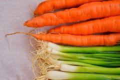 Zanahorias y fondo de la cebolla imagen de archivo libre de regalías