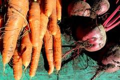 Zanahorias y remolachas en una tabla verde Imagenes de archivo