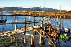 Zancos de madera tradicionales del embarcadero Imagen de archivo